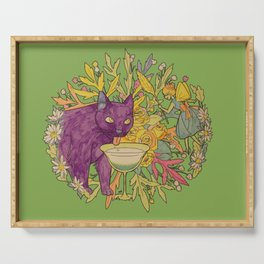 cat and green milk light Serving Tray