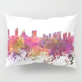 Jersey City skyline in watercolor background Pillow Sham