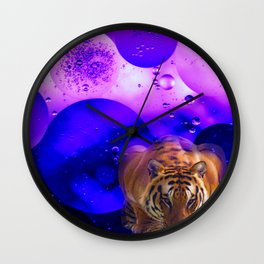 Tiger on the Prowl Purple Bubble Art Wall Clock