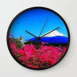 Spring mountain flowers fuji nature Japan Wall Clock