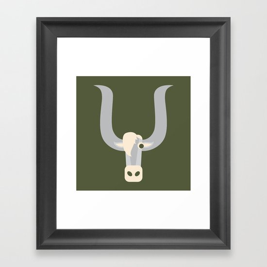 Letter Y // Animal Alphabet // Yak Monogram Framed Art Print