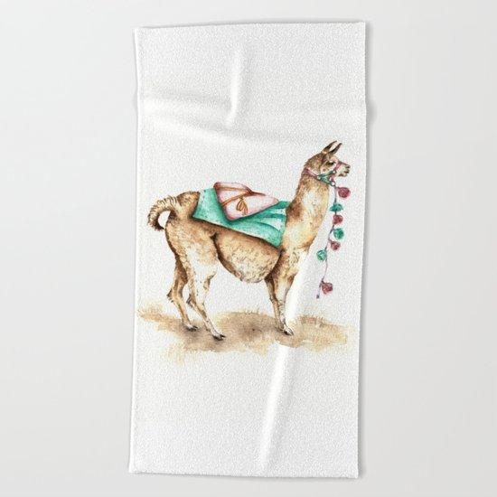 Watercolor Llama Beach Towel