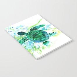 Sea Turtles Underwater Scene Turquoise Blue design, bright blue green design Notebook