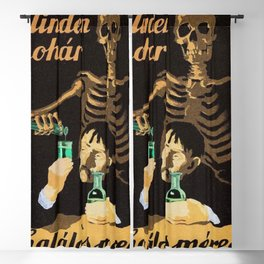 Absinthe Kills, Each Glass is Poison 1950 Hungarian Communist anti absinthe alcohol vintage poster Blackout Curtain