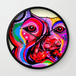 Doberman Pinscher Close Up Bright Colors Wall Clock