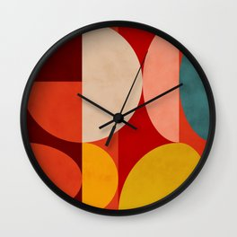 shapes of red mid century art Wall Clock