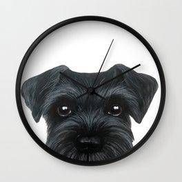 New Black Schnauzer, Dog illustration original painting print Wall Clock