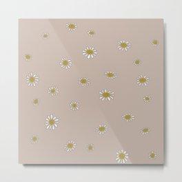 Minimalist Daisies (Beige) Metal Print