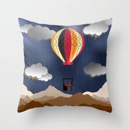 Balloon Aeronautics Rain Throw Pillow