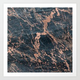 Blue & Rose Gold Marble Art Print