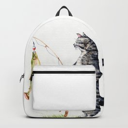 Cat with a Fish Backpack