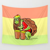 rasta Wall Tapestries featuring rasta marihuana turtle by gran mike