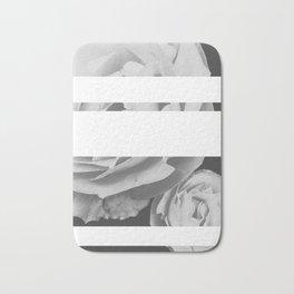 White Stipe Roses Bath Mat