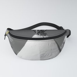 Tipi against snow capped Mountains Fanny Pack