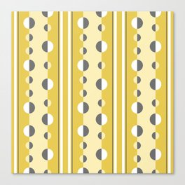 Circles and Stripes in Mustard Yellow and Gray Canvas Print