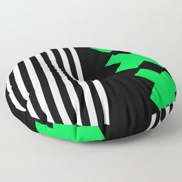 Bold Minimalism 2 (black and neon green) Floor Pillow