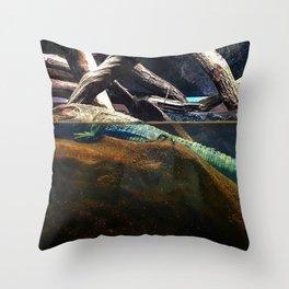 A lizard between two worlds Throw Pillow