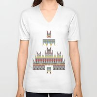 whisky V-neck T-shirts featuring WHISKY AZTEC  by Kiley Victoria