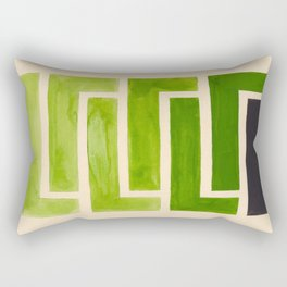 Sap Green Geometric Watercolor Painting Rectangular Pillow