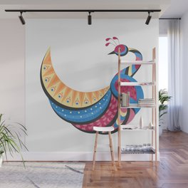 Pretty Abstract Peacock Pattern White Background Wall Mural