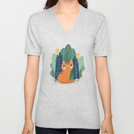 Orange Garden Cat Unisex V-Neck