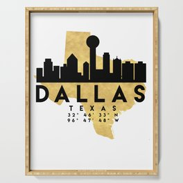 DALLAS TEXAS SILHOUETTE SKYLINE MAP ART Serving Tray
