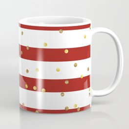 Christmas White and Red and Christmas Golden confetti Coffee Mug