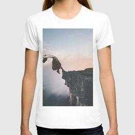 Up in the Clouds-Surreal Levitation Off a Cliff T-shirt