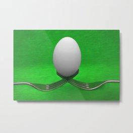 Balanced Breakfast in Green Metal Print