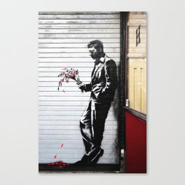 Banksy, Man with flowers Canvas Print