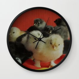 many small pullet in red and gold with two soccer balls funny Wall Clock