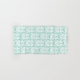 Crackled Scrolled Ikat Pattern - Blue White Hand & Bath Towel