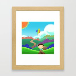 Illustration: A Kid is Running and Flying a Kite in the Colorful Field. Realistic Fantastic Cartoon  Framed Art Print