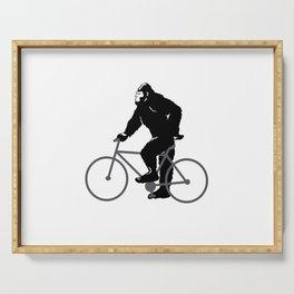 Bigfoot  riding bicycle Serving Tray