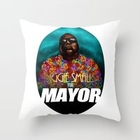 biggie smalls Throw Pillows featuring Biggie Smalls for Mayor by Tom Brodie-Browne