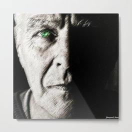 Black and white painting - Man with one green eye - Jeanpaul Ferro Metal Print