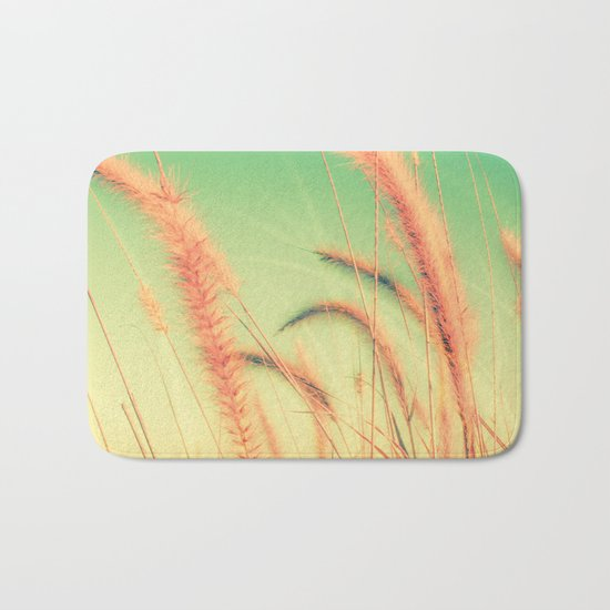Swing into Spring (Reed Plants with Mint Green Sky Background) Bath Mat