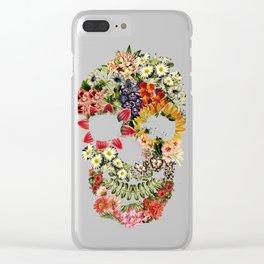Floral Skull Vintage Black Clear iPhone Case