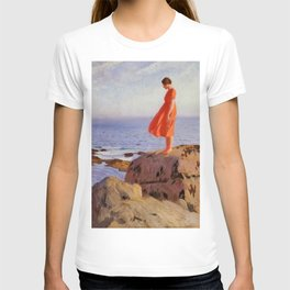 The Dark Pool, Solitary Woman in an Orange Dress coastal landscape painting by Laura Knight T-shirt
