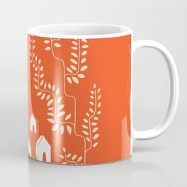 Line Vine Village in Red, Line Art Community Coffee Mug