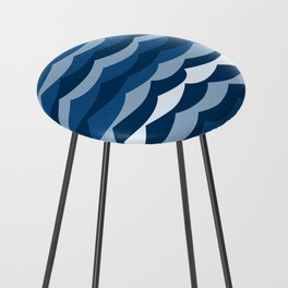 Classic Blue Wave Pattern Counter Stool