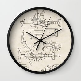 Corkscrew Vintage Patent Hand Drawing Wall Clock