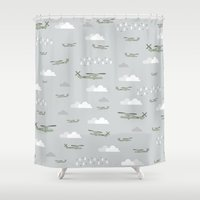 blackhawks Shower Curtains featuring Hawks and things by Let it Rain