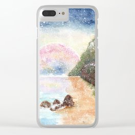 Pink Moon Watercolor Illustration Clear iPhone Case