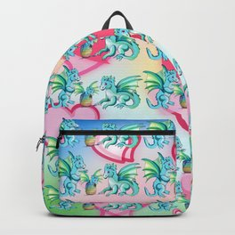Lots of hearts and a cartoon family of dragons Backpack