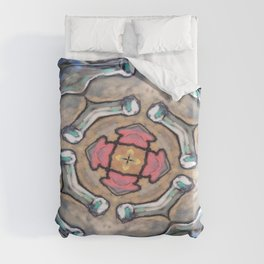 Blue Bottles Kaliedoscope Hippie Art Duvet Cover