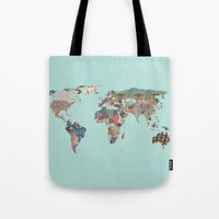 louis armstrong Tote Bags featuring Louis Armstrong Told Us So (teal) by Bianca Green