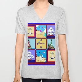 Another Nautical Quilt but with Compass Rose Unisex V-Neck