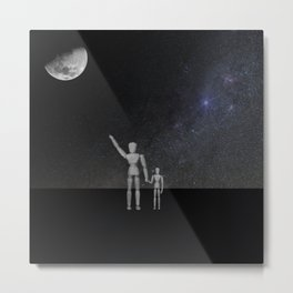Wooden Anatomy Doll Father Points to Moon with Child Metal Print