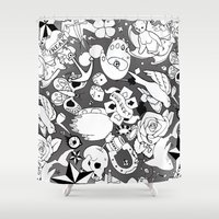 tattoos Shower Curtains featuring Teddy Tattoos BW by TheBleepBloopShop